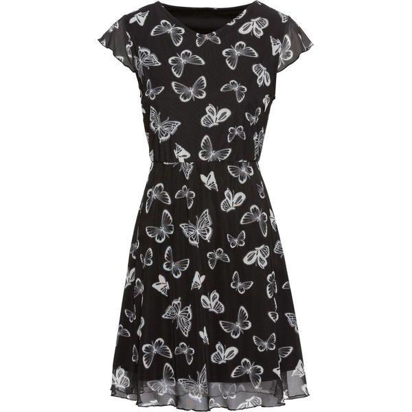 8a87516a54 Sukienka letnia z siatkowego materiału w motyle bonprix czarno-biały ...
