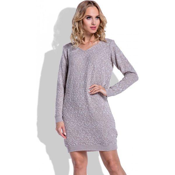"""0add126965 Swetrowa Mocca Sukienka Mini z Dekoltem """"V"""" - Sukienki damskie marki ..."""