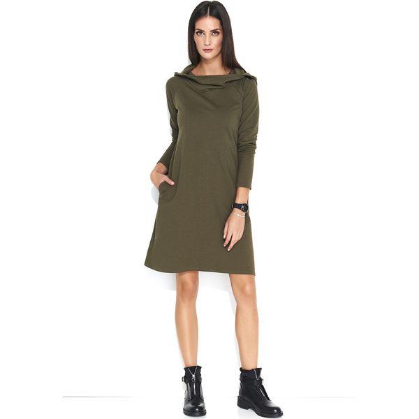 a12555c5b0 Khaki Dzianinowa Sukienka Trapezowa z Kapturem - Sukienki damskie ...