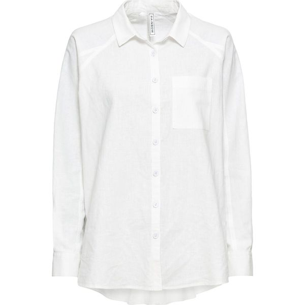 8ce16f410d Bluzka oversize z domieszką lnu bonprix biały - Bluzki damskie marki ...