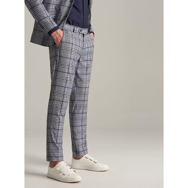 a882a30f36a60 Spodnie garniturowe w kratę - Granatowy - Spodnie wizytowe męskie ...