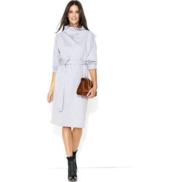 492284a3c1 Szara Kimonowa Midi Sukienka z Golfem - Sukienki damskie marki Molly ...
