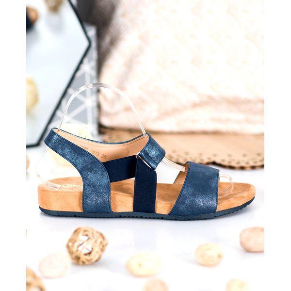 SHELOVET Wygodne Granatowe Sandałki niebieskie