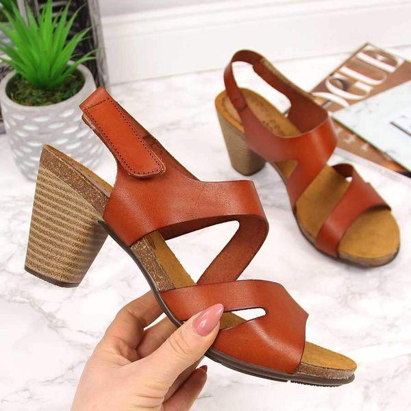 Obuwie damskie Sandały Brązowe sandały damskie skórzane