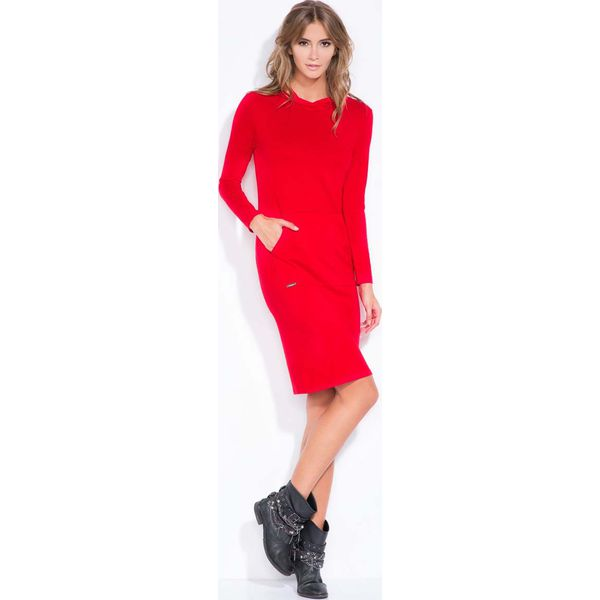 8e8fc86c63 Czerwona Sportowa Sukienka z Kapturem i Kieszenią Kangurką ...