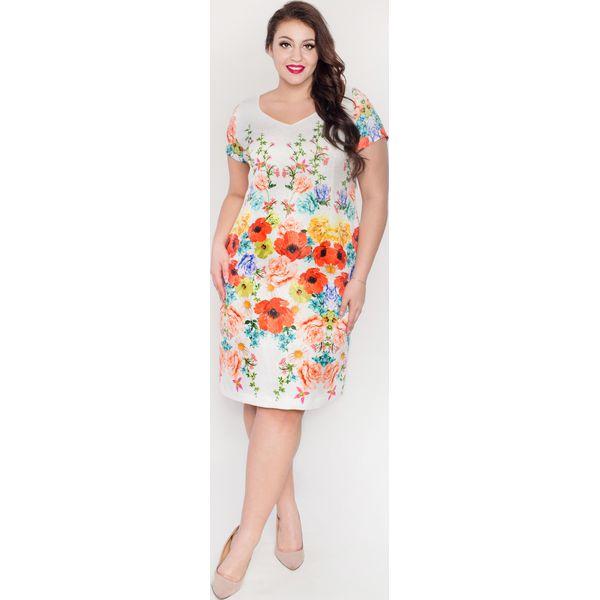 98fea9f6 Elegancka żakardowa sukienka z ozdobnym borderem PLUS SIZE wiosna lato