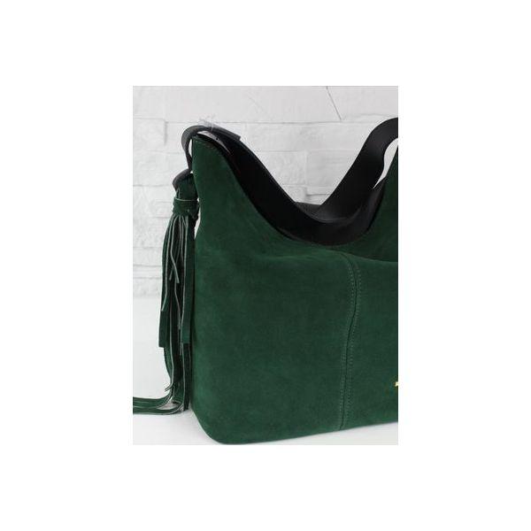 5ca8596d41716 Zamsz-lico Shopper boho butelkowa zieleń GOLD - Shopper bag damskie ...