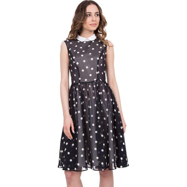 2e126a0fe2 Czarno-biała rozkloszowana sukienka w groszki BIALCON - Sukienki ...