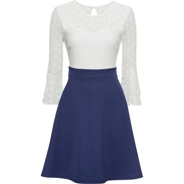 756585c5a4 Sukienka z siatkową wstawką bonprix kobaltowo-biały - Sukienki ...