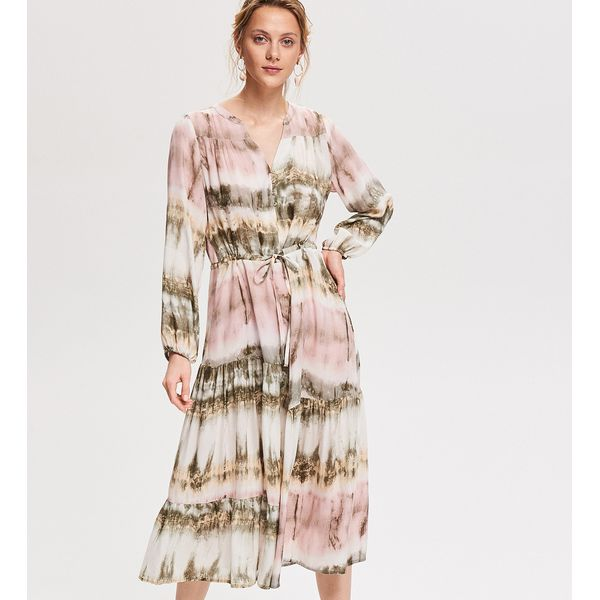2cd2e28d Sukienka midi z wiskozy - Wielobarwn