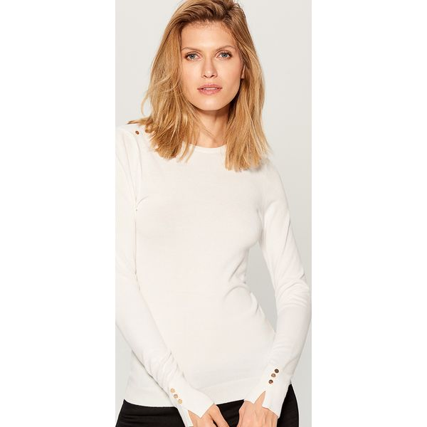 01cb3932 Dopasowany sweter - Biały