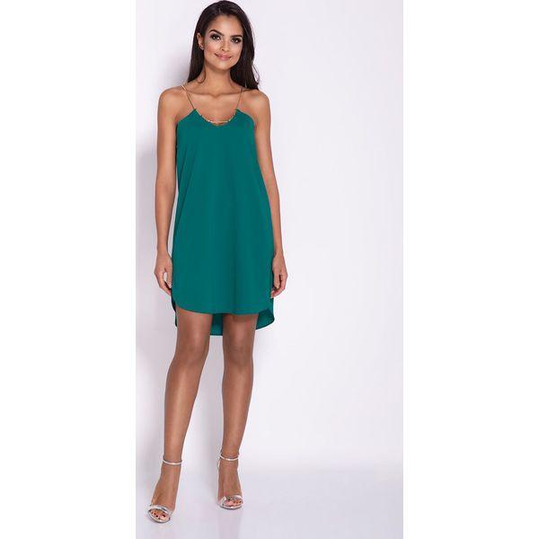26f43c6e3b Zielona Elegancka Luźna Sukienka z Wydłużonym tyłem na Wesele ...