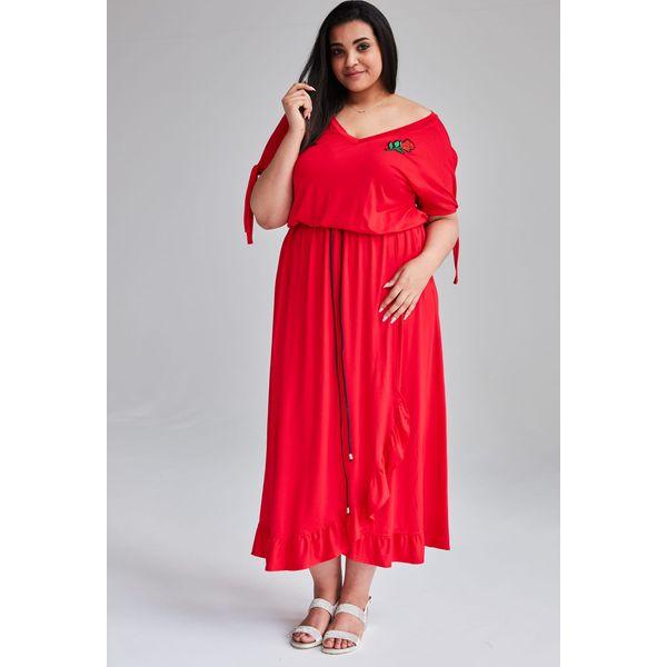 214bb0b2e7 Czerwona Sukienka Laura MAXI duże rozmiary OVERSIZE PLUS SIZE WIOSNA ...