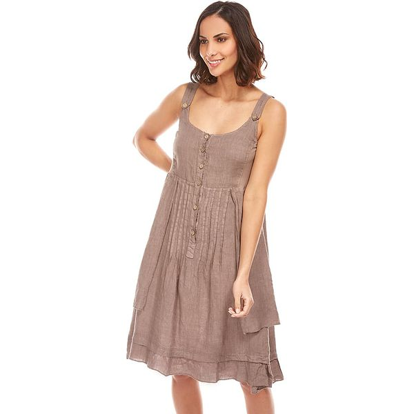 25e68bf0cd Lniana sukienka w kolorze szarobrązowym - Sukienki damskie marki ...